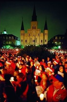 New Orleanians singing Christmas Carols